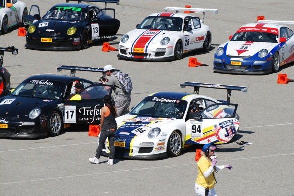 Pirelli GT3 Cup races_ GT3 cup cars queued on the grid, end of two rows view_California Festival of Speed_4/5/14