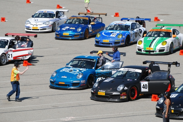 Pirelli GT3 Cup races_ GT3 cup cars queued on the grid, close up view_California Festival of Speed_4/5/14