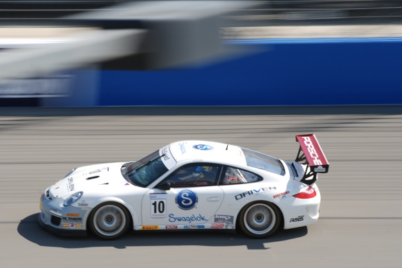 Pirelli GT3 Cup races_ GT3 cup cars on track /white #10 pan shot_California Festival of Speed_4/5/14