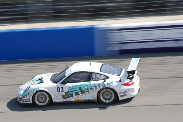 Pirelli GT3 Cup races_ GT3 cup cars / white #03 911 Design Porsche, pan shot_California Festival of Speed_4/5/14