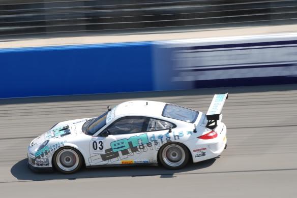 Pirelli GT3 Cup races_ GT3 cup cars / white #03 911 Design Porsche, pan shot_California Festival of Speed_4/5/14