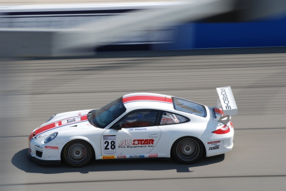 Pirelli GT3 Cup races_ GT3 cup cars / white, red & blue , #28 All Star fire equipment Porsche, pan shot_California Festival of Speed_4/5/14
