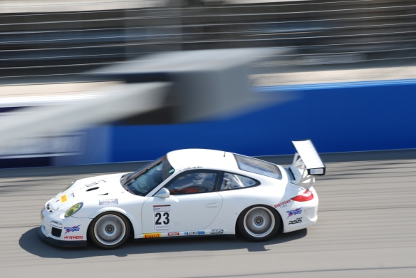 Pirelli GT3 Cup races_ GT3 cup cars / white #23  Porsche GT3 Cup car, pan shot_California Festival of Speed_4/5/14