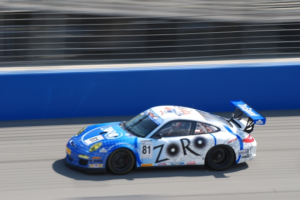 Pirelli GT3 Cup races_ GT3 cup cars on track /blue & white #81 pan shot_California Festival of Speed_4/5/14