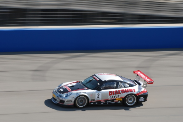 Pirelli GT3 Cup races_ GT3 cup cars / silver, black & red , #02  Discount Tire Porsche, pan shot_California Festival of Speed_4/5/14