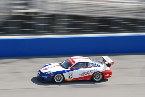 Pirelli GT3 Cup races_ GT3 cup cars / white, blue& red , #25  Werks II motorsport Porsche, pan shot_California Festival of Speed_4/5/14