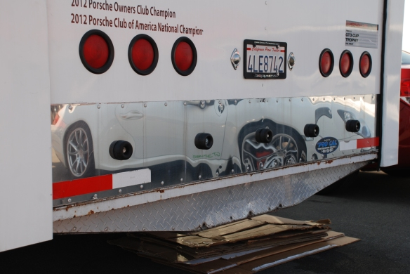 Car hauler  / trailer rear door reflection_paddock area_California Festival of Speed_4/5/14
