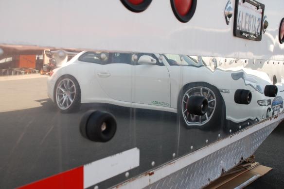 Car hauler  / trailer rear door reflection close up_paddock area_California Festival of Speed_4/5/14