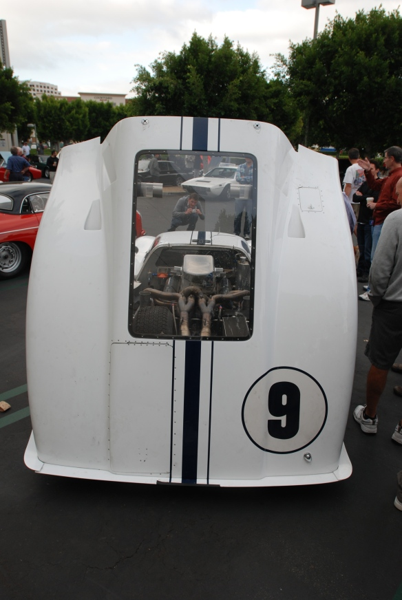 White 1967 Ford GT MK IV_rear view with open decklid_cars&coffee/irvine_May 10, 2014