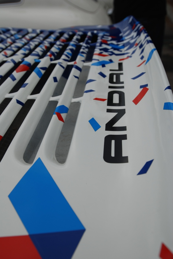 Pikes peak/Valvoline Porsche 964 rally car_rear wing graphics detail_cars&coffee/irvine_May 10, 2014