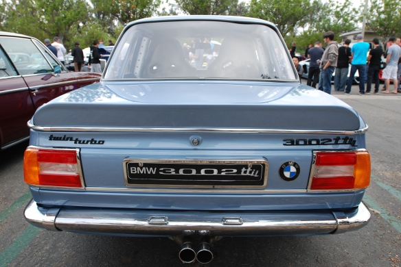 "Fjord Blue, custom built BMW 2002 ""3002ttii""_ rear view_cars&coffee/irvine_May 10, 2014"