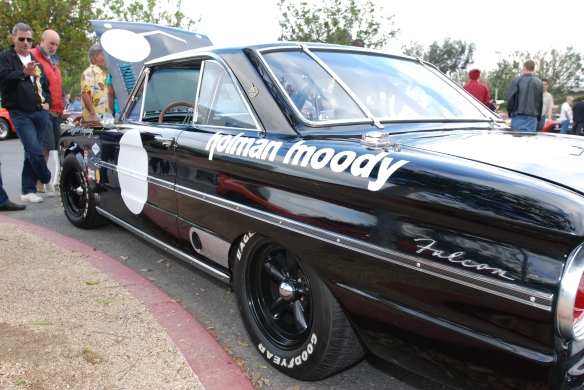 Black 1963 Ford Falcon Sprint /Trans AM racer_3/4 rear fender view and reflections_cars&coffee/irvine_May 10, 2014