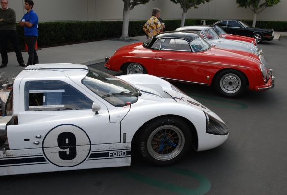 White 1967 Ford GT MK IV and red Porsche 356A speedster_group shot_cars&coffee/irvine_May 10, 2014
