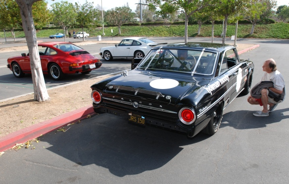 Black 1963 Ford Falcon Sprint /Trans AM racer_3/4 rear view, reflections and lit taillights_cars&coffee/irvine_May 10, 2014
