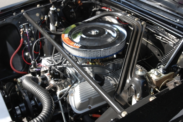 Black 1963 Ford Falcon Sprint /Trans AM racer_289 c.i. motor detail_cars&coffee/irvine_May 10, 2014
