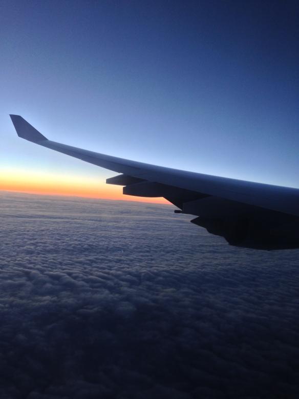 Lufthansa flight_sunset shot ,polar route_June 6, 2014
