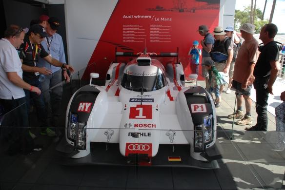 Audi Boutique at La Chapelle_2014 Audi R-18 e-tron on display_front view_Le Mans24_June 14, 2014