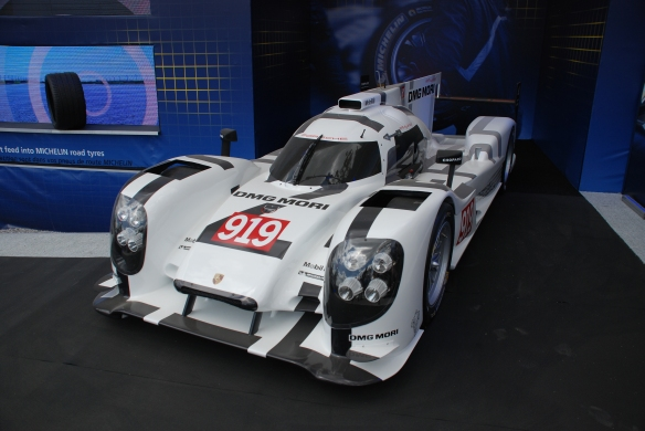 Michelin tire display_ Porsche 919 hybrid_village infield_Le Mans24_June 14, 2014