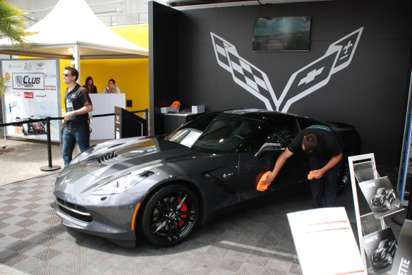 Corvette display & boutique_charcoal gray 2014 C7 corvette_village infield_Le Mans24_June 14, 2014