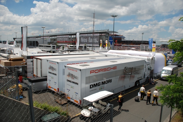 Porsche race car haulers_ 919 hybrid_paddock/garage area_Le Mans24_June 14, 2014