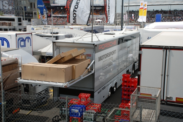 Porsche motorsports parts trailer_paddock/garage area_Le Mans24_June 14, 2014
