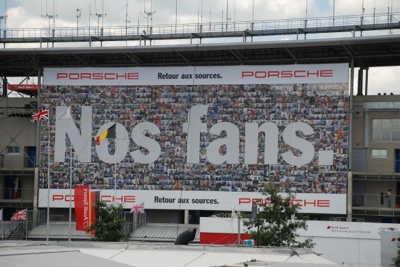 Porsche supergraphics_nos fans#2_pit row grandstands_Le Mans24_June 14, 2014