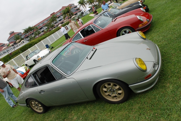 "Platinum colored ""Forza 6"" porsche 911_3/4 side view_2014 Dana Point concours_July 20, 2014"