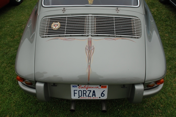 "Platinum colored ""Forza 6"" porsche 911_reardecklid pinstripe_ _2014 Dana Point concours_July 20, 2014_"