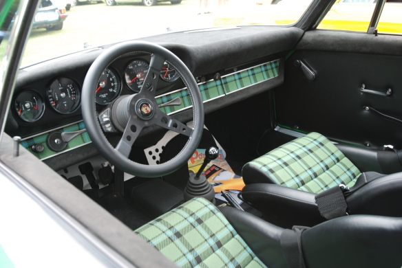 Viper green Porsche 911 RSR 3.6  re creation_interior shot, plaid inserts & alcantera trim_2014 Dana Point concours_July 20, 2014