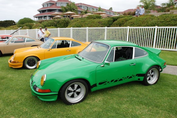 Viper green Porsche 911 RSR 3.6  re creation_3/4 side view_2014 Dana Point concours_July 20, 2014