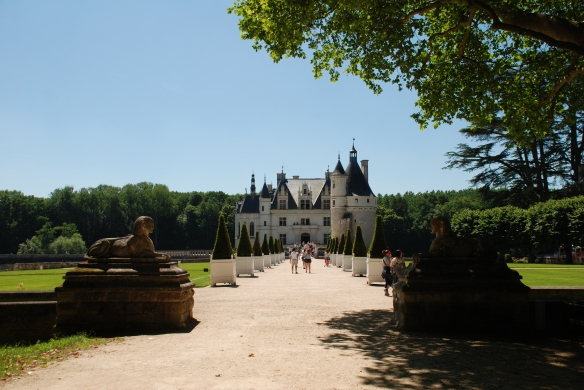 Chateau de Chenonceau_ tree lined entry_Amboise France_June 13, 2014