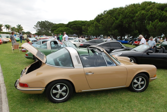 Sand beige 1969 Porsche 912 Targa_3/4 rear view_2014 Dana Point concours_July 20, 2014