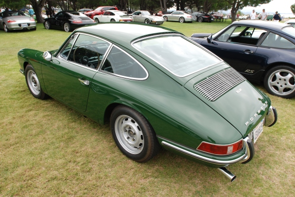 1968 Irish Green 912 coupe_3/4 rear view & reflections_2014 Dana Point concours_July 20, 2014