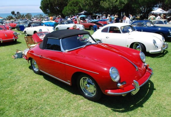 red 356 cabriolet group shot with white 1955 Continental coupe in background_2014 Dana Point concours_July 20, 2014