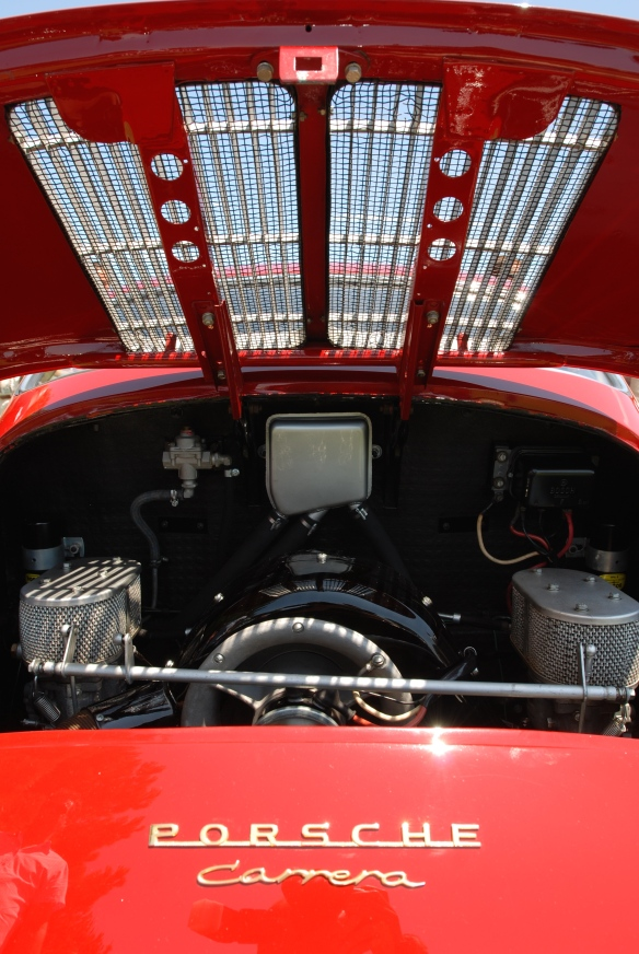 Red Porsche 356 Carrer 4 cam_rear grill & motor detail shot_2014 Dana Point concours_July 20, 2014