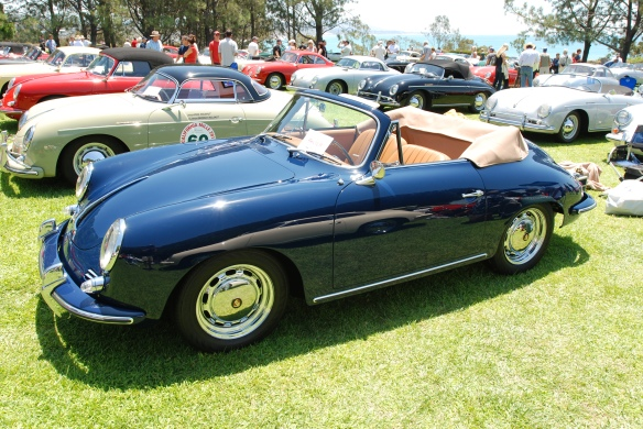 Dark blue Porsche 356 cabriolet with  tan interior & top with reflections_3/4 front view_2014 Dana Point concours_July 20, 2014