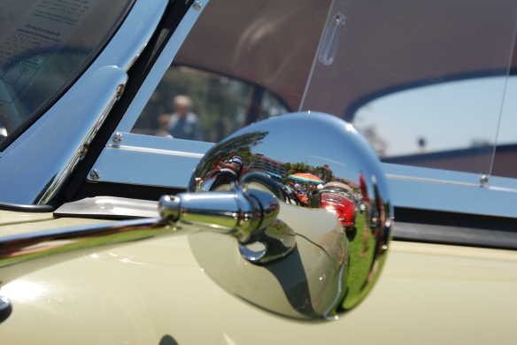 Stone Gray Porsche 356 speedster with black hard top option_side mirror reflections_2014 Dana Point concours_July 20, 2014