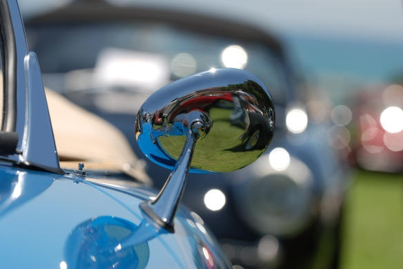 Blue Porsche 356 speedster with tan interior) side mirror reflections shot_2014 Dana Point concours_July 20, 2014