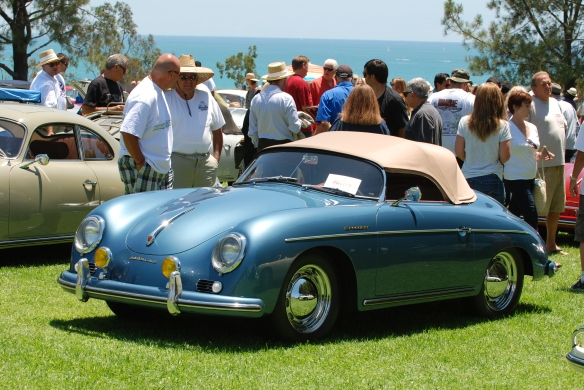 Light metallic blue with tan top, 356 speedster_3/4 front view_2014 Dana Point concours_July 20, 2014
