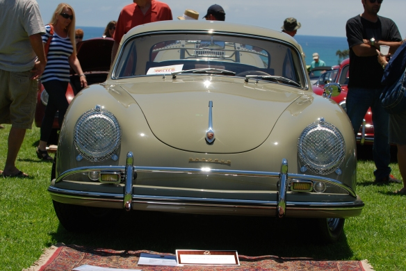 Stone Gray 1959 Porsche 356 coupe_front view_2014 Dana Point concours_July 20, 2014