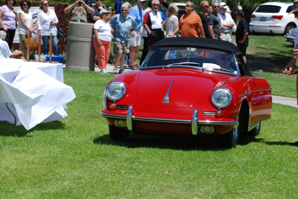 Red Porsche 356 cabriolet_ double winner-best in class & best of show_front view_2014 Dana Point concours_July 20, 2014