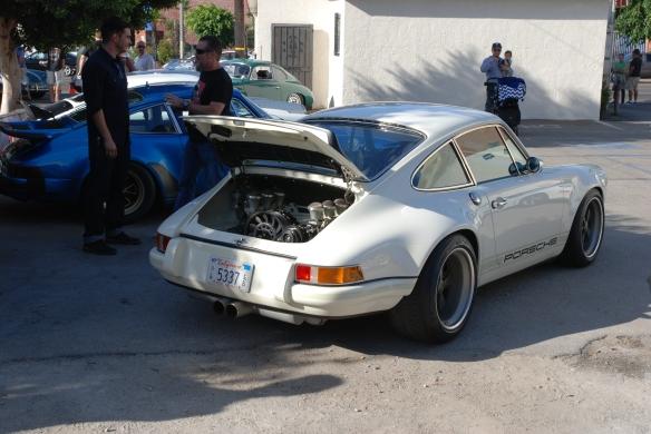 White Singer Porsche 911 coupe_3/4 rear view_ Luftgekuhlt event_Sunday September 7, 2014