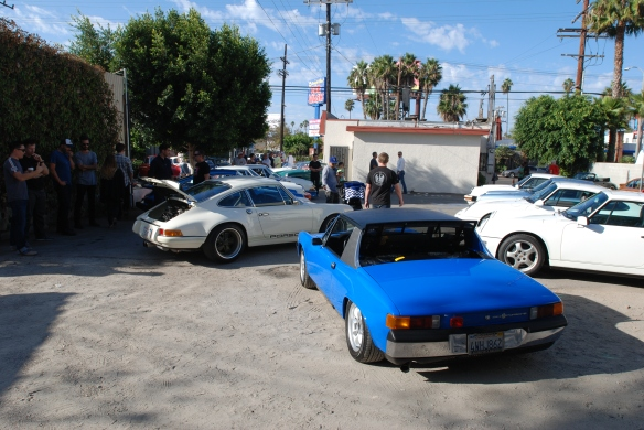 Blue Porsche 914-6, parked with 911s _3/4 rear view_ Luftgekuhlt event_Sunday September 7, 2014