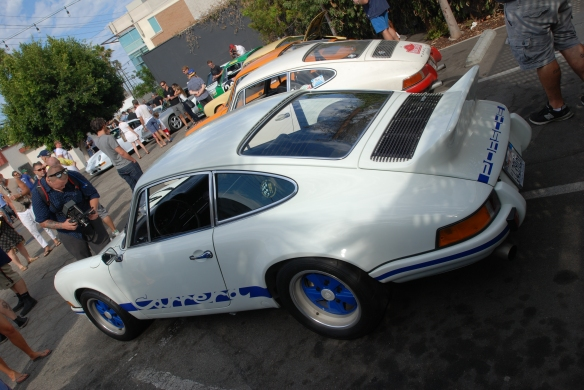 white with blue accents_1973 Porsche 911 Carrera RS_3/4 rear viewLuftgekuhlt event_Sunday September 7, 2014