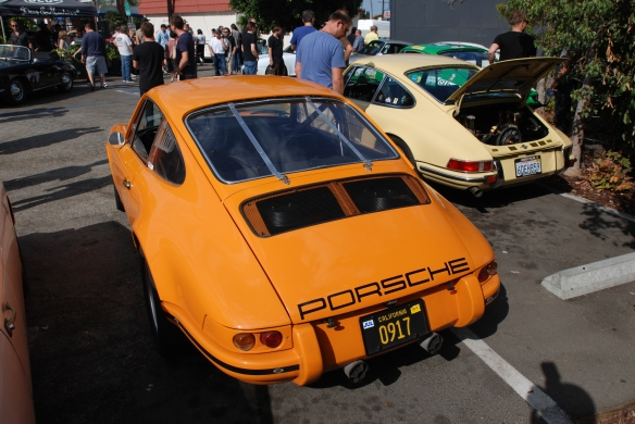 Orange 1969 Porsche 911 ST_chad mcqueen car_3/4 rear view_Luftgekuhlt event_Sunday September 7, 2014