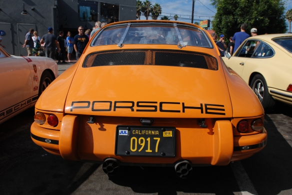 Chad McQueens signal orange Porsche 911 ST_rer view_ shot at the Luftgekuhlt event_September 7, 2014