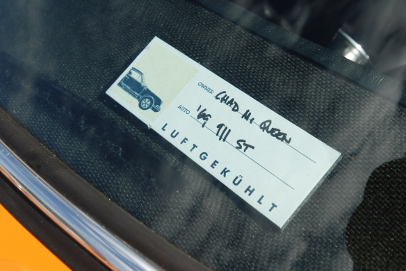 Orange 1969 Porsche 911 ST_chad mcqueen car_show dash plaque_Luftgekuhlt event_Sunday September 7, 2014