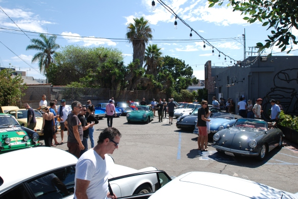 Deus rear parking lot with Porsches_Luftgekuhlt event_Sunday September 7, 2014