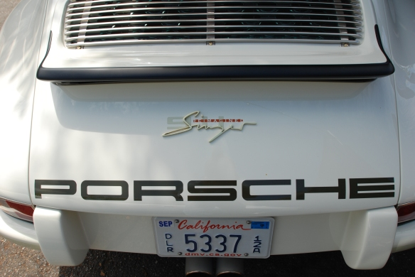 White Singer Porsche 911 coupe_rear decklid with spoiler, grill and graphics_ Luftgekuhlt event_Sunday September 7, 2014