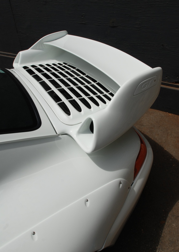 White Porsche 993 GT2 coupe_model specific rear wing_ Luftgekuhlt event_Sunday September 7, 2014
